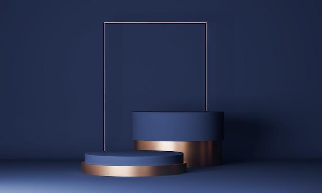Scena minimale astratta con due cilindri in podio blu e oro. presentazione del prodotto, mock up