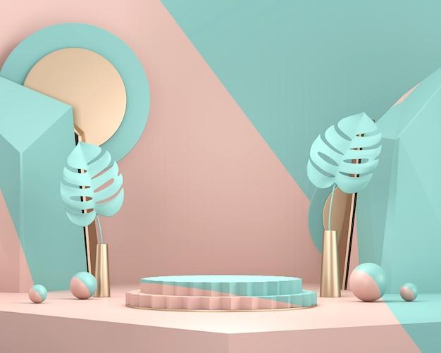 Fase minima astratta per la visualizzazione del prodotto presente sullo sfondo, rendering 3d.