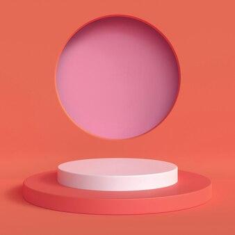 Abstract mock up scena colore rosso pastello. sfondo del podio di forma geometrica per il prodotto. rendering 3d