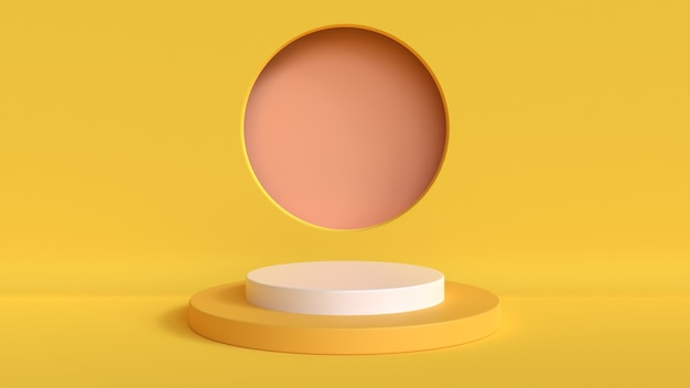 Abstract mock up scena colore giallo pastello. sfondo del podio di forma geometrica per il prodotto. rendering 3d