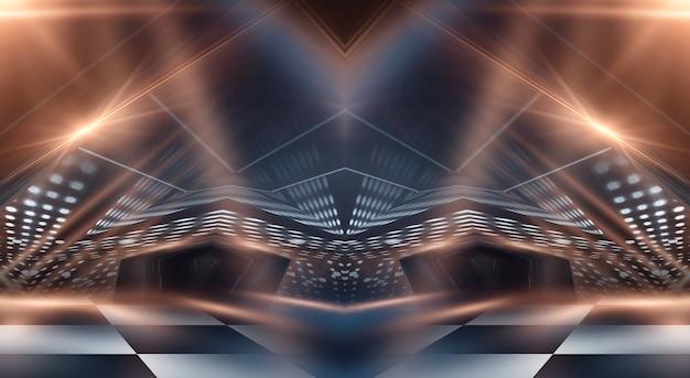 Buio moderno astratto con raggi e linee.