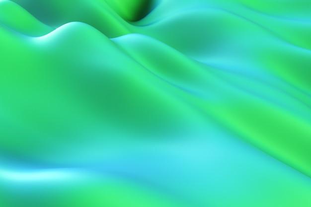 Movimento astratto. sfondo di rumore fluido moderno verde. superficie deformata con riflessi e ombre lisci. illustrazione 3d