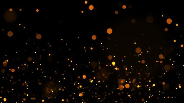 Sfondo astratto movimento brillante particelle d'oro. particelle scintillanti luccicanti con sfondo di particelle di bokeh. particelle tremolanti. sfondo di natale e capodanno.