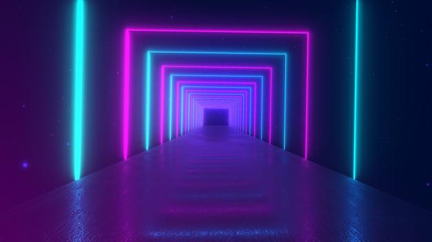 Movimento astratto sfondo geometrico, quadrati al neon luminosi creando un tunnel rotante, spettro viola rosa blu, luce ultravioletta fluorescente, moderna illuminazione colorata, illustrazione 3d