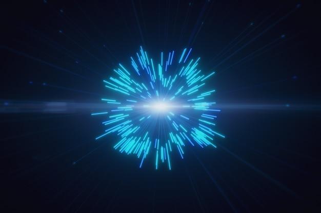 Scoppi multicolori astratti di fuochi d'artificio al neon digitali