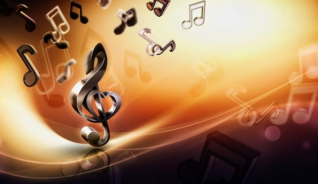 Musica di sottofondo astratto con note e concetto di immagine chiave di violino d