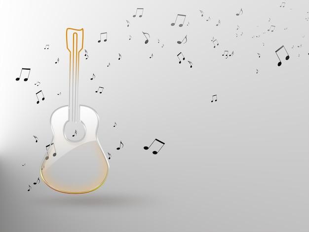 Sfondo musicale astratto con chitarra e note
