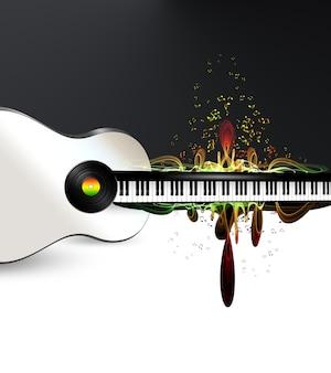 Sfondo musicale astratto con tasti di pianoforte, silhouette di chitarra e note