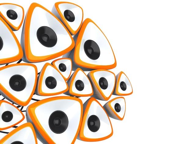 Illustrazione musicale astratta con molti altoparlanti arancioni