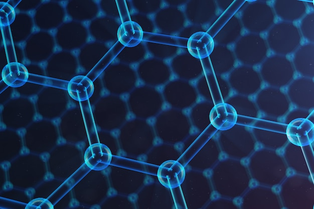 Primo piano esagonale astratto della forma geometrica di nanotecnologia, struttura atomica del grafene di concetto, struttura molecolare del grafene di concetto. concetto scientifico, illustrazione 3d