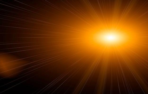 Chiarore di sole naturale astratto sul nero