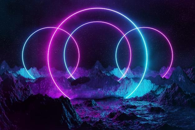 Cerchi astratti della luce al neon su terra