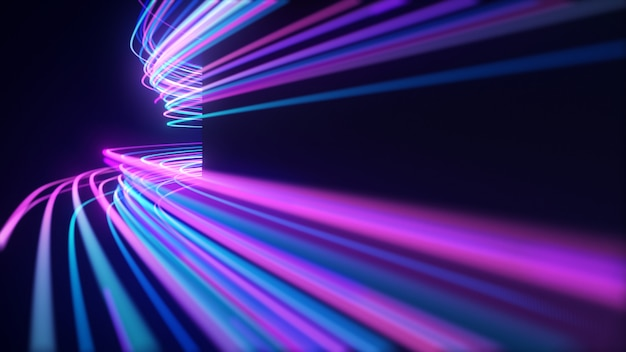 Linee astratte di luce al neon