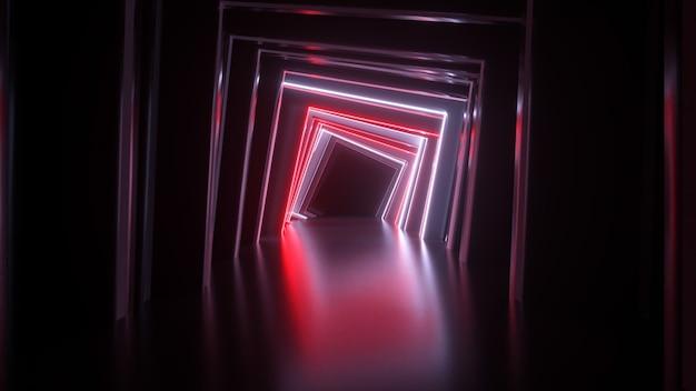 Tunnel quadrato al neon astratto tecnologico