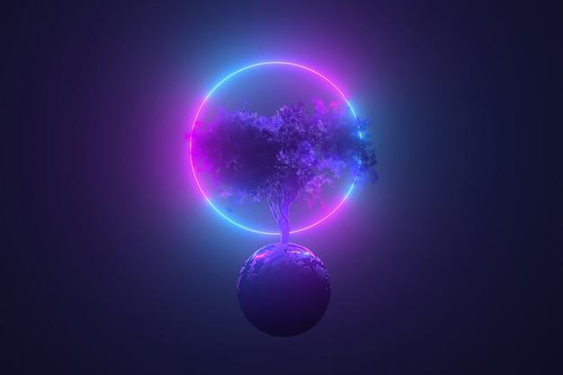 Tavolo al neon astratto, albero cosmico mistico che spuntano attraverso un pianeta rotondo alla luce di un telaio rotondo incandescente al neon, rosa blu brillante, illustrazione 3d