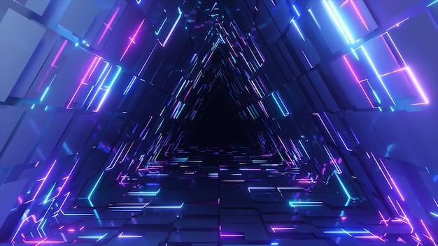 Tunnel di triangolo al neon astratto tecnologico. sfondo animato senza fine. luce al neon moderna. linee luminose al neon. rendering 3d loop senza soluzione di continuità
