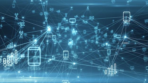 Rete astratta di dispositivi fisici su internet utilizzando una connessione di rete con numeri statistici