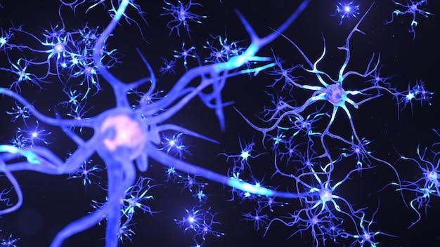 Cellule neurali astratte. le sinapsi e le cellule neuronali inviano segnali chimici elettrici.