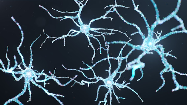 Cellule neurali astratte con punti luminosi.