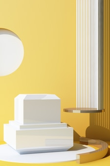 Fondo bianco astratto dell'oggetto con il podio di forma geometrica per il prodotto con ombra sulla parete. concetto minimo giallo e bianco. 3d rendering cornice verticale