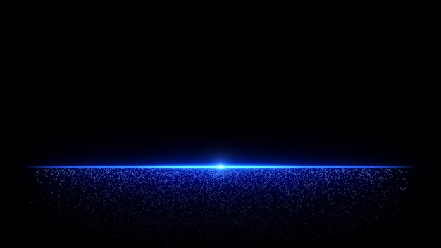 Luce astratta delle particelle dell'orizzonte blu con polvere che scorre