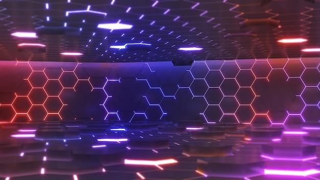 Foto astratta sfondo tecnologia futura modello esagonale luce al neon stadio esagonale