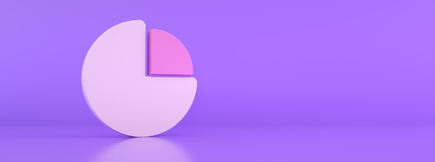 Grafico a torta astratto per il design aziendale, rendering 3d, mockup panoramico con spazio per il testo
