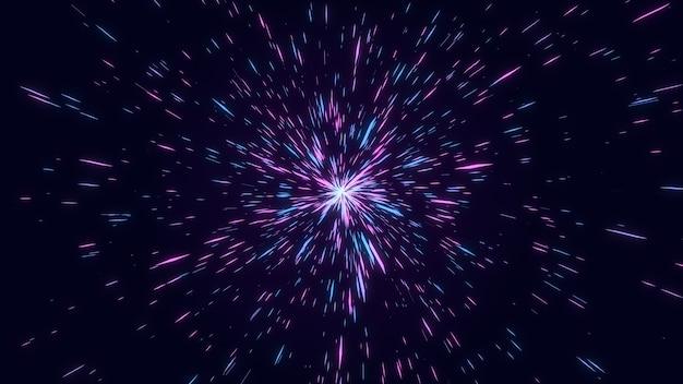 Esplosione di stelle a forma di diamante geometrico astratto rosa e blu, tunnel di fascio di linea starburst bagliore fantastico, sfondo grafico digitale di geometria creativa