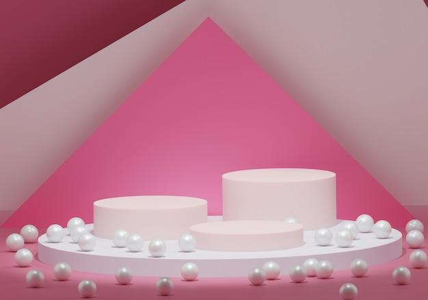 Colore rosa astratto geometrico con perle, podio per prodotti, mostre, cosmetici, rendering 3d