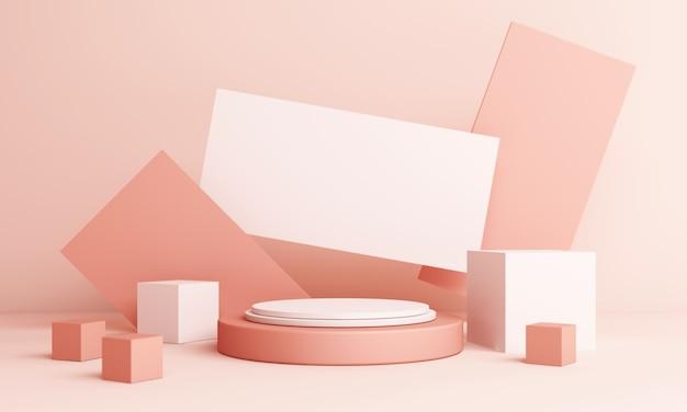 Composizione rosa astratta con podio. studio minimale con piedistallo rotondo e spazio di copia, pastello di forma geometrica, rendering 3d