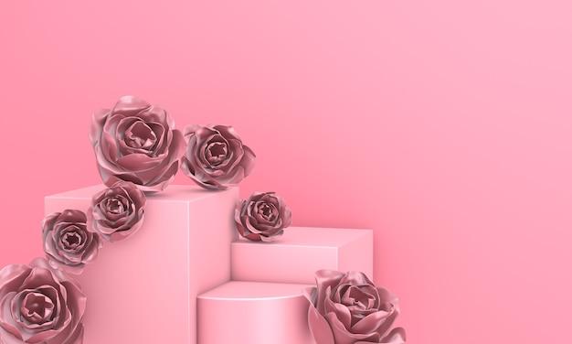 Podio geometrico rosa astratto decorato con fiori di rosa per mockup. rendering 3d.
