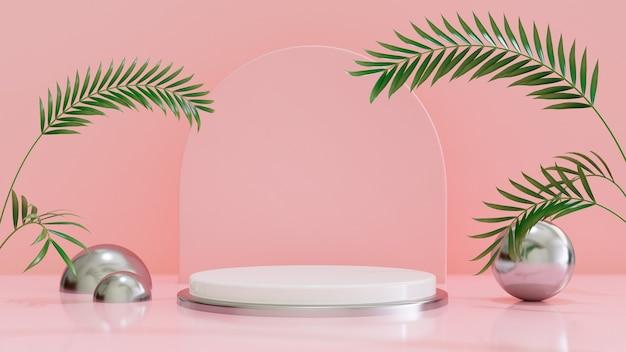 Sfondo di forma geometrica rosa astratta con geometria con foglia tropicale podio minimalista mock up scena rendering 3d