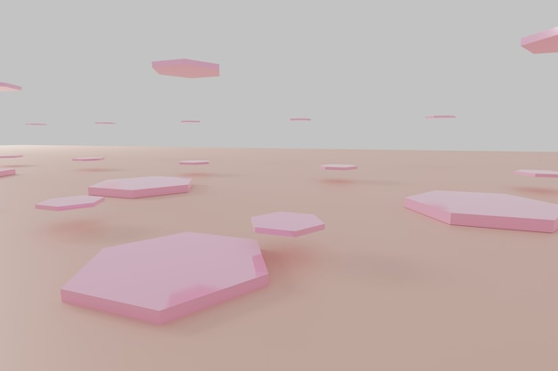 Abstract rosa esagono sfondo a nido d'ape rendering 3d