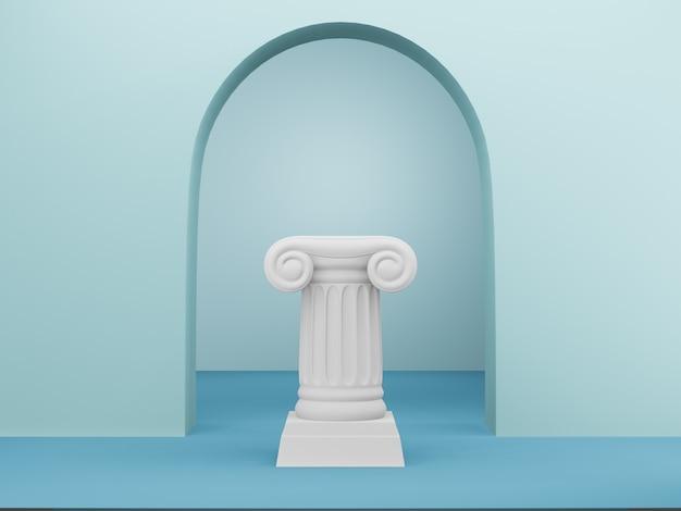 Colonna astratta del podio sul blu con l'arco, rappresentazione 3d