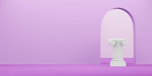 Colonna astratta del podio sui precedenti fucsia con l'arco. il piedistallo della vittoria è un concetto minimalista. spazio libero per il testo. rendering 3d.