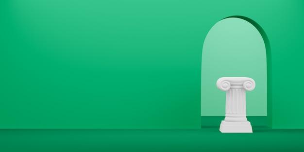 Colonna astratta del podio su verde con l'arco, rappresentazione 3d