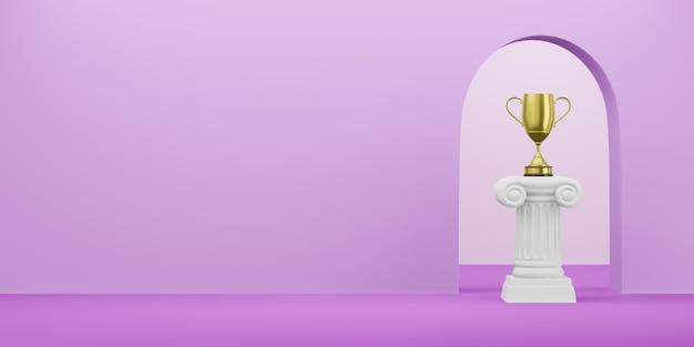Colonna astratta del podio con un trofeo dorato sui precedenti di fucsia con l'arco. il piedistallo della vittoria è un concetto minimalista. spazio libero per il testo. rendering 3d.
