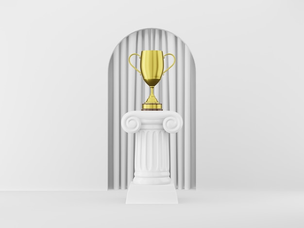 Colonna astratta del podio con un trofeo dorato sui precedenti bianchi con l'arco