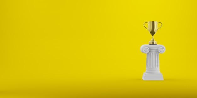Colonna astratta del podio con un trofeo dorato su giallo, rappresentazione 3d