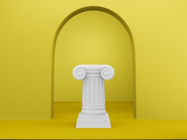 Colonna astratta del podio sui precedenti gialli con l'arco. il piedistallo della vittoria è un concetto minimalista. rendering 3d.