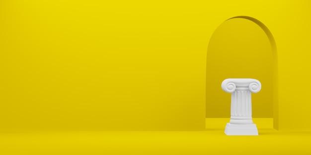 Colonna astratta del podio sui precedenti gialli con l'arco. il piedistallo della vittoria è un concetto minimalista. spazio libero per il testo. rendering 3d.