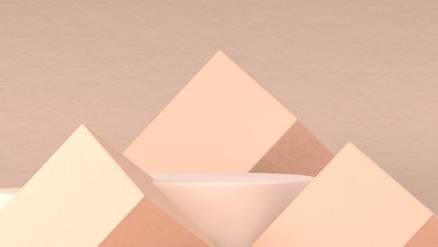 Podio astratto per l'inserimento di prodotti cosmetici in sfondo pastello