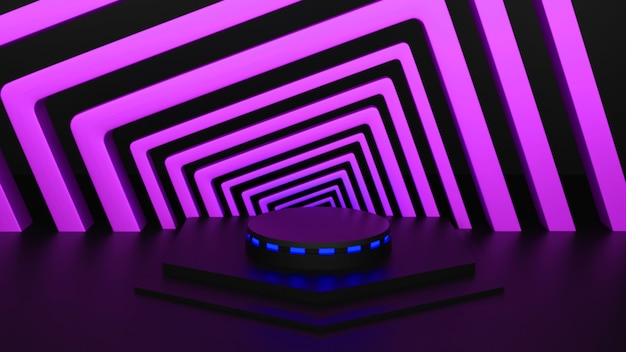 Abstract podio mockup 3d rendering toni rosa sfondo nero fase di illuminazione bagliore