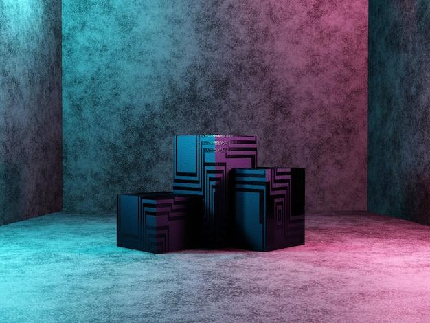 Piedistallo podio astratto o piattaforma in design fantascientifico