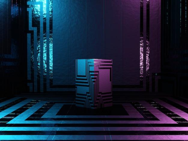 Piedistallo o piattaforma astratto del podio con struttura di fantascienza su un fondo futuristico scuro