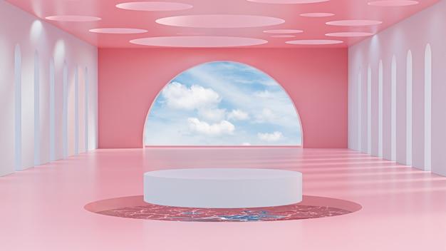 La fase astratta del podio sul fondo 3d del cielo rosa e blu rende