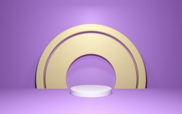 Podio astratto con arco dorato sulla parete viola