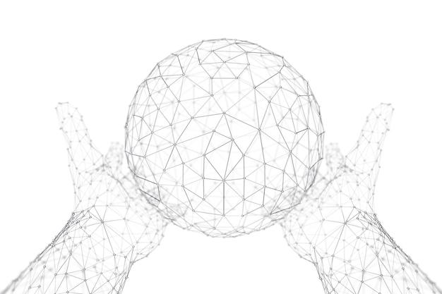 Atomo astratto della sfera poligonale, dna, neuroni, globo, molecola con le mani nello stile della struttura del filo su un fondo bianco. rendering 3d