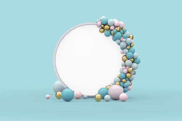 Podio dello schermo del cerchio di presentazione astratta con le palle e lo spazio libero per il vostro disegno su un fondo blu. rendering 3d