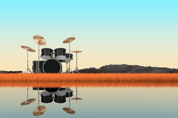 Abstract professionale rock black drum kit in piedi in autunno erba lunga su un primo piano estremo della riva del fiume. rendering 3d